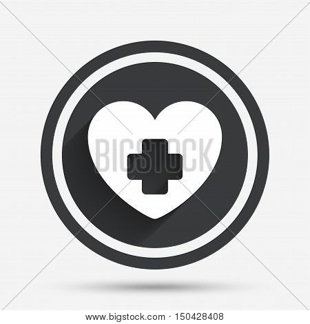Medical heart sign icon. Cross symbol. Circle flat button with shadow and border. Vector