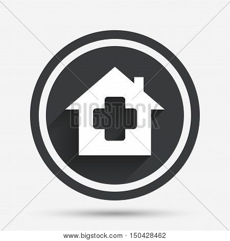 Medical hospital sign icon. Home medicine symbol. Circle flat button with shadow and border. Vector