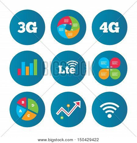 Business pie chart. Growth curve. Presentation buttons. Mobile telecommunications icons. 3G, 4G and LTE technology symbols. Wi-fi Wireless and Long-Term evolution signs. Data analysis. Vector