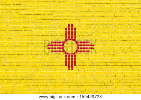 New Mexican official flag symbol. American patriotic element. USA banner. United States of America background. Flag of the US state of New Mexico on brick wall texture background, 3d illustration