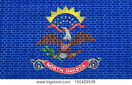 North Dakotan official flag symbol. American patriotic element. USA banner. United States of America background. Flag of the US state of North Dakota on brick wall texture background, 3d illustration