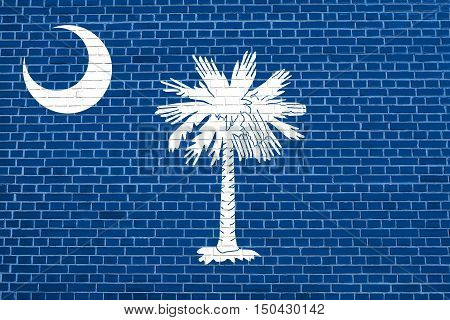 South Carolinian official flag symbol. American patriotic element. USA banner. United States of America background. Flag of the US state of South Carolina on brick wall texture background, 3d illustration