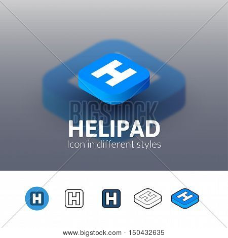 Helipad color icon, vector symbol in flat, outline and isometric style isolated on blur background