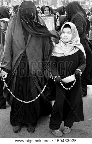 Istanbul Turkey - November 3 2014: Mourning of Muharram in Turkey. A Universal Ashura Mourn Ceremony was held in Istanbul to commemorate the martyrdom of Husain ibn Ali the grandson of the Prophet Muhammad and his 71 friends.