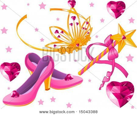 Beautiful princess crown, scepter, magic wand, shoes and crystal hearts