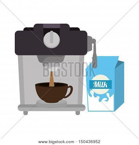 coffee maker machine with caffeine beverage and milk box. vector illustration