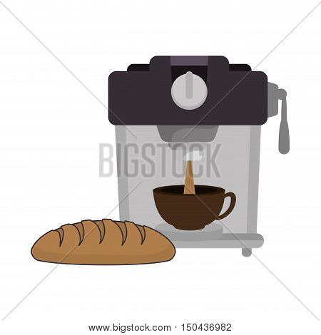 coffee maker machine with caffeine beverage and bread. vector illustration