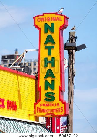 NEW YORK,USA - AUGUST 18,2016 : The original Nathan's Famous hot dogs stand in Coney Island