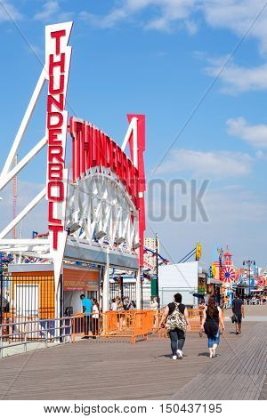 NEW YORK,USA - AUGUST 18,2016 : The amusement park at Coney Island on a beautiful summer day