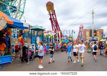 NEW YORK,USA - AUGUST 18,2016 : The Luna Park amusement park at Coney Island