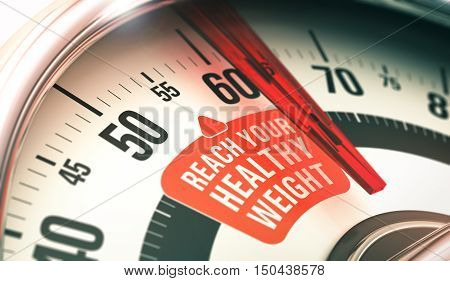 3D illustration of a bathroom scale with the punsh line reach your healthy weight horizontal image