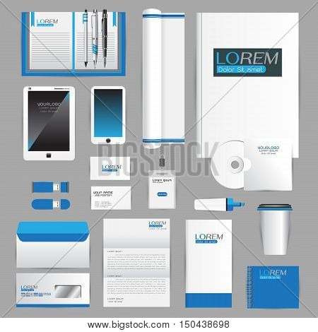 White identity template with blue origami elements. Vector company style for brandbook guideline and Pens mugs CDs books business cards letterhead flag Card Portfolio employees Tablet
