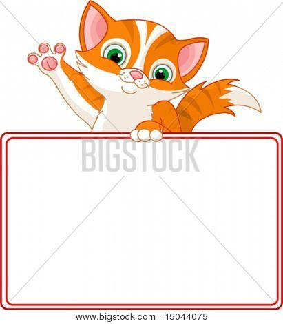 Adorable Kitten Looking Over A Blank Starry Sign