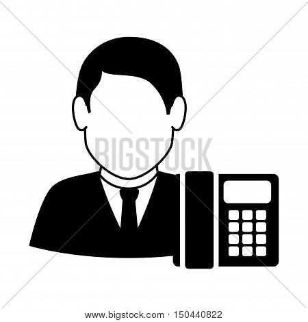 avatar man with headset and telephone icon. call center and customer support. vector illustration