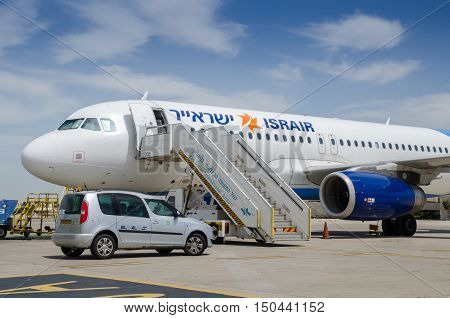 BEN-GURION AIRPORT, ISRAEL - APRIL 03, 2013: The IsAir - Israeli Airlines airplane arrived to Ben-Gurion Airport. Israel