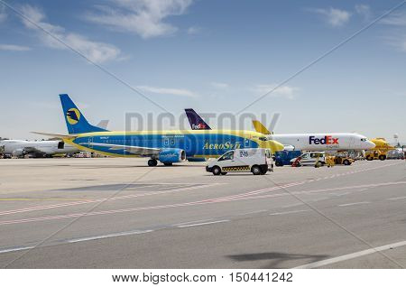 Aerosvit And Fedex Aircraft In Ben-gurion Airport. Israel.