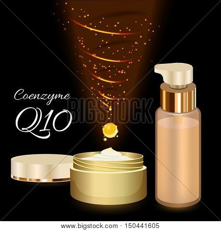 Skin Cream and Emulsion with Coenzyme Q10. Magic Spiral Drop. Collagen Solution. Supreme Collagen Serum Essence. Vector Illustration. Used for Medicine Banner, Poster, Cosmetics Advertising.