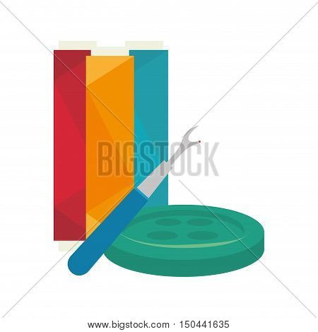 seam ripper tool with spool of thread and button. colorful design. vector illustration
