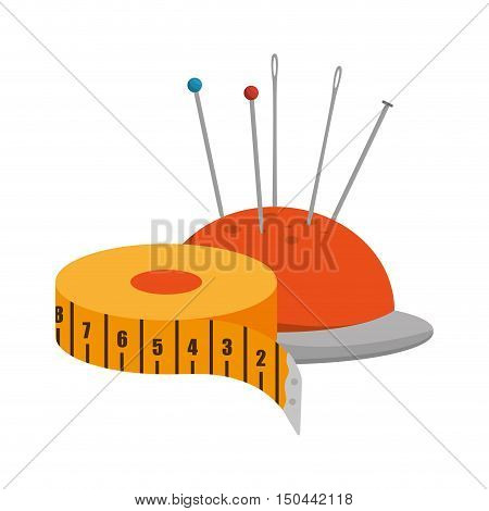 pincushion with pins and needles and yellow tape measurement icon. colorful design. vector illustration