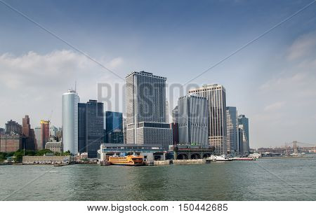Manhattan Skyline View With Staten Island Ferry Whitehall Terminal Over Hudson River