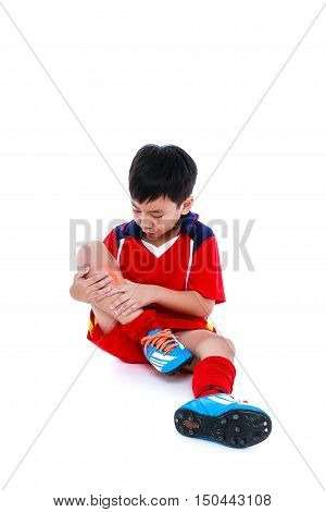 Youth Asian Soccer Player With Pain In Shin Joint. Full Body.