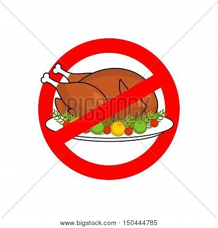Stop Roasted Turkey. Prohibited Fried Food. Red Prohibition Sign. Crossed-baked Chicken. Ban Cholest