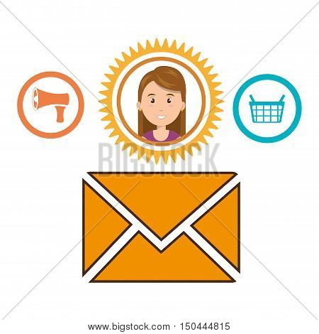 avatar woman inside yellow gear and envelope. shopping and bussines design. vector illustration