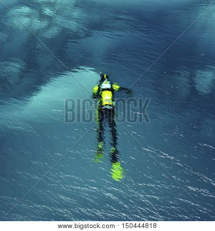 Man with diving suit swimming underwater in a tropical sea. This is a 3d render illustration