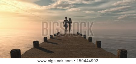 Silhouette of a couple walking on a pontoon to the sea admiring the ocean evening light leak sunset. This is a 3d render illustration