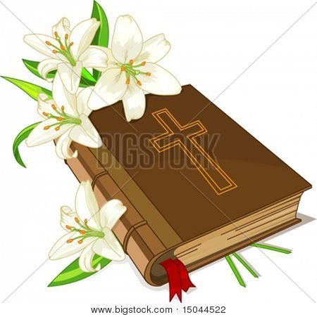 The sacred book the bible and lily flowers on a white background