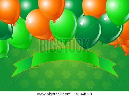 Vector St. Patrick?s Day  Balloons Celebration Background with Copy space.