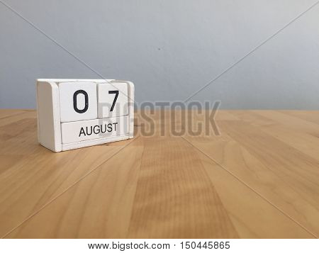 August 7Th.august 7 White Wooden Calendar On Wood Background.summer Day.copyspace For Text.