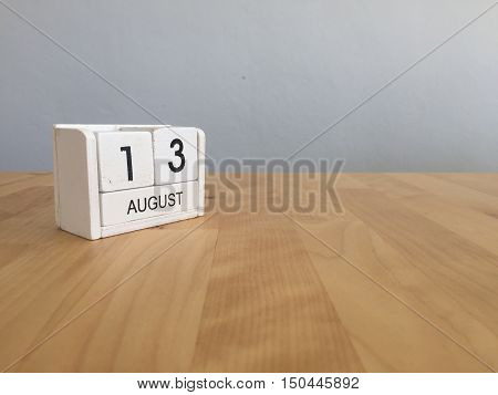 August 13Th.august 13 White Wooden Calendar On Wood Background.summer Day.copyspace For Text.