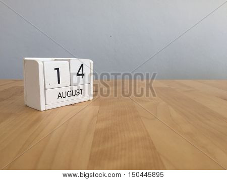 August 14Th.august 14 White Wooden Calendar On Wood Background.summer Day.copyspace For Text.