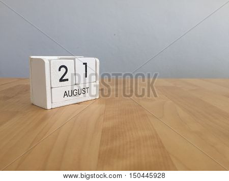 August 21St.august 21 White Wooden Calendar On Wood Background.summer Day.copyspace For Text.