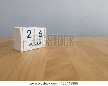 August 26Th.august 26 White Wooden Calendar On Wood Background.summer Day.copyspace For Text.