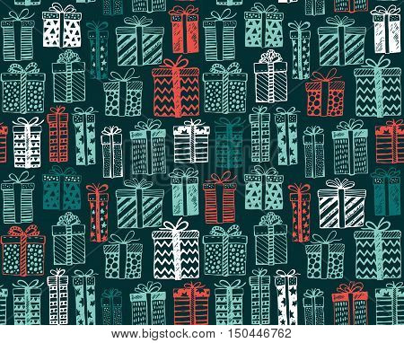 Vector seamless pattern with Christmas or birthday ornate present boxes. Colorful endless background in graphic doodle style for prints, cards, invitations, scrapbook.