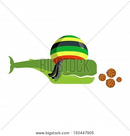 Rasta Whale And Cookies. Large Marine Animals In Rastafarian Hat. Long Black Dreadlocks. Stoned Drug