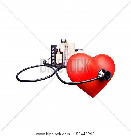 Stethoscope on the heart. Stethoscope on the heart isolat an white background. 3D illustration