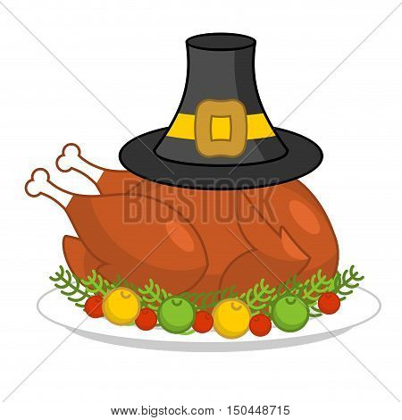 Roast Turkey For Thanksgiving And Pilgrim Hat. Fowl On Plate. Fry Turkey With Apples And Cranberries