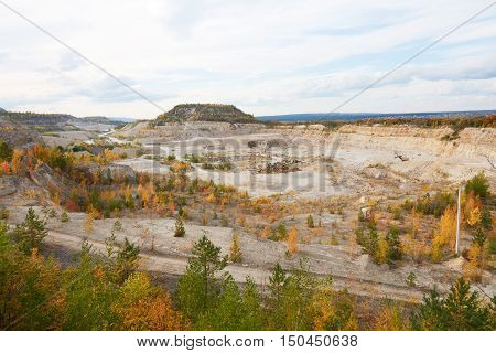Aerial View Of The Quarry In Autumn Day. Autumn Landscape.