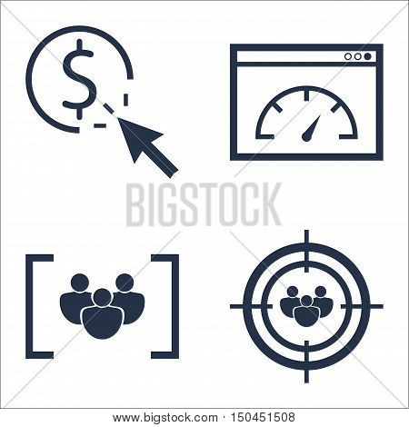 Set Of Seo, Marketing And Advertising Icons On Audience Targeting, Page Speed, Pay Per Click And Mor
