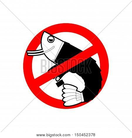 Ban Office Plankton. Prohibited Shrimp In Suit. Red Prohibition Sign. Crossed Sea Animal. Stop Manag
