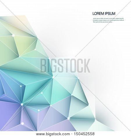 Vector Geometric, Polygonal, Triangle pattern in molecule structure shape. Multicolored blue, purple, yellow and green background with blank space for your content, business, network and web design