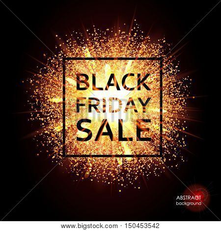 Black Friday. Christmas sale, discounts. The text on the background of the cloud of explosion of light and dust. Bright gold advertising banner. Vector illustration
