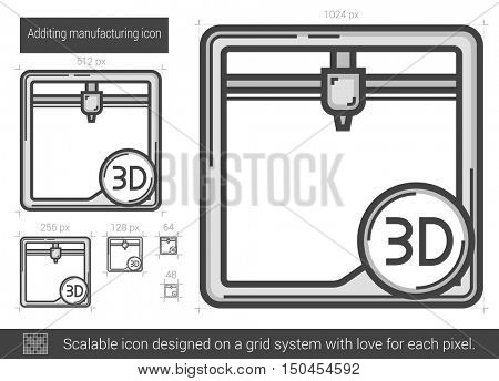 Additing manufacturing vector line icon isolated on white background. Additing manufacturing line icon for infographic, website or app. Scalable icon designed on a grid system.