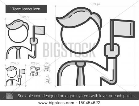Team leader vector line icon isolated on white background. Team leader line icon for infographic, website or app. Scalable icon designed on a grid system.
