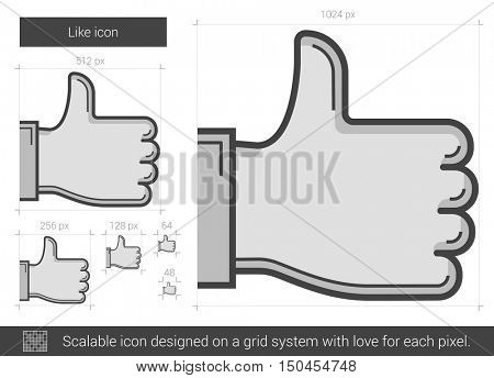 Like vector line icon isolated on white background. Like line icon for infographic, website or app. Scalable icon designed on a grid system.