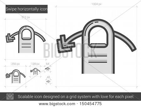 Swipe horizontally vector line icon isolated on white background. Swipe horizontally line icon for infographic, website or app. Scalable icon designed on a grid system.
