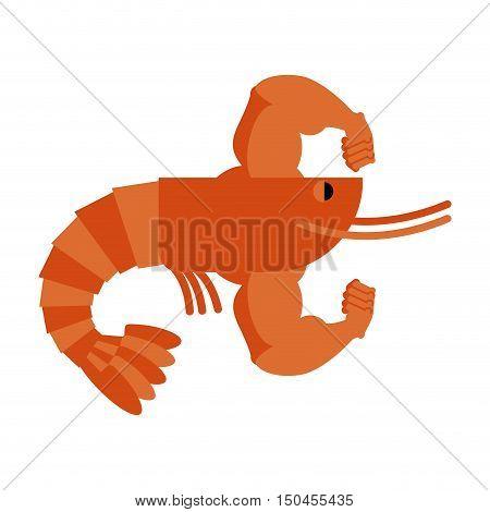Strong Athlete Shrimp. Powerful Athlete Plankton. Big Hands Bodybuilding